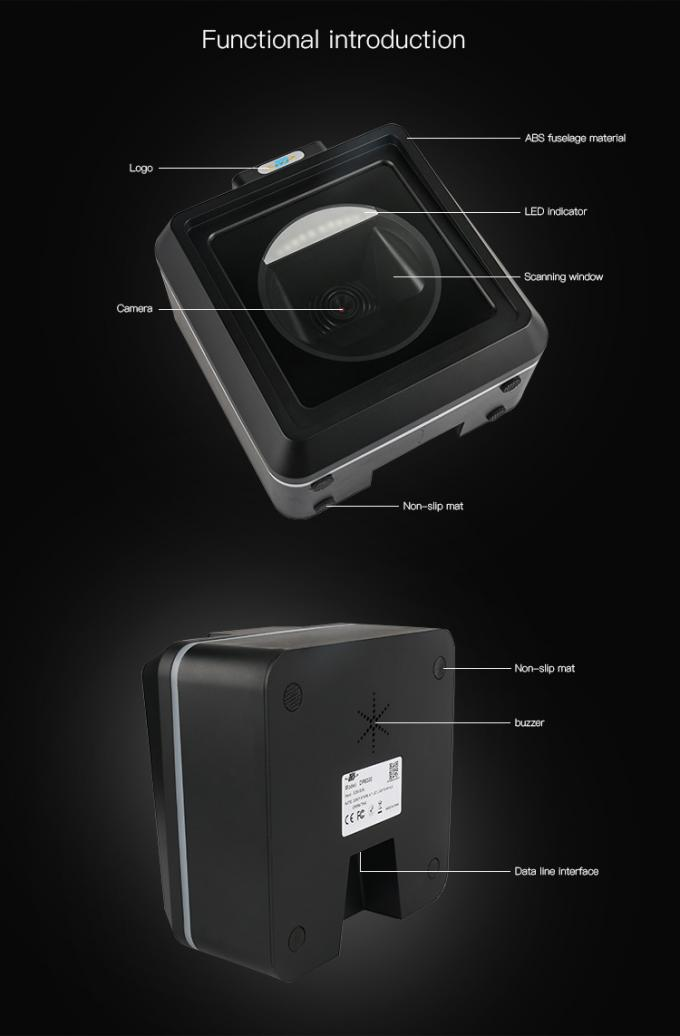Omnidirectional  Barcode Scanner  2D QR Code Reader  USB Interface for Mobile Payment Both on Paper and  Screen