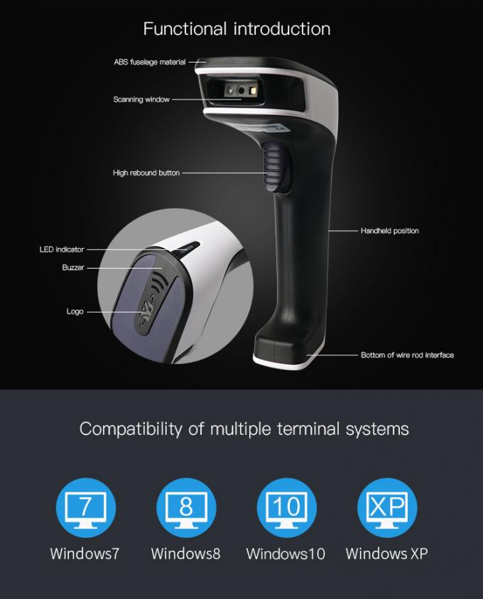 Wireless 1D Handheld Barcode Scanner Bluetooth 2.4G 3 In 1 1600mAh Battery Capacity