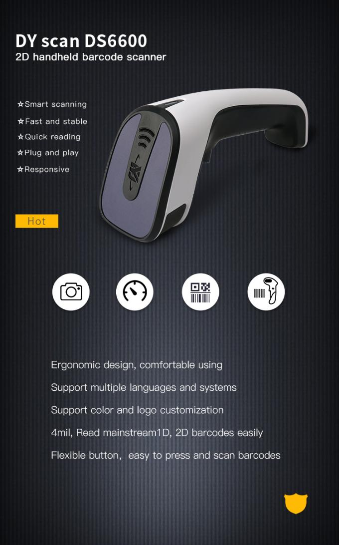 CMOS Handheld 2D Barcode Scanner , USB QR Code Scanner For Cashless Payment