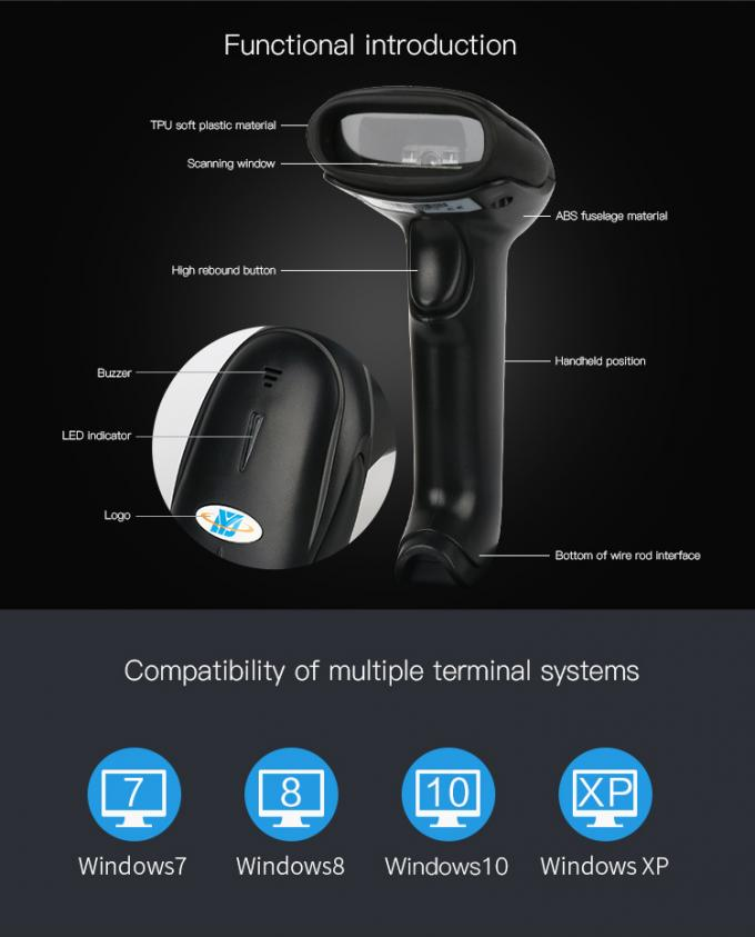 CCD Image Wired Handheld Barcode Scanner 1D 2500 Resolution For Mobile Payment