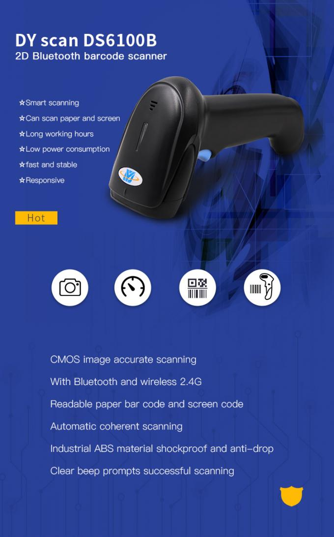 Quick Scan Wireless USB Bluetooth Scanner 2.4G 2D CMOS Scan Long Working Time