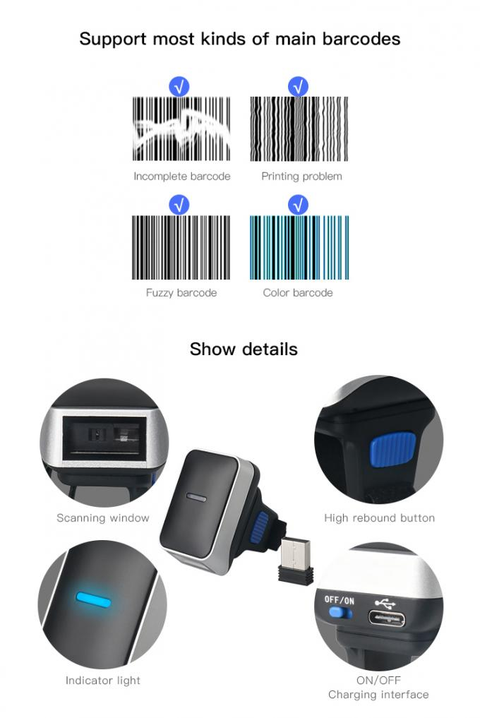 Mini Bluetooth Finger Scanner , Ring Type 1D Wireless USB Barcode Reader DI9010-1D