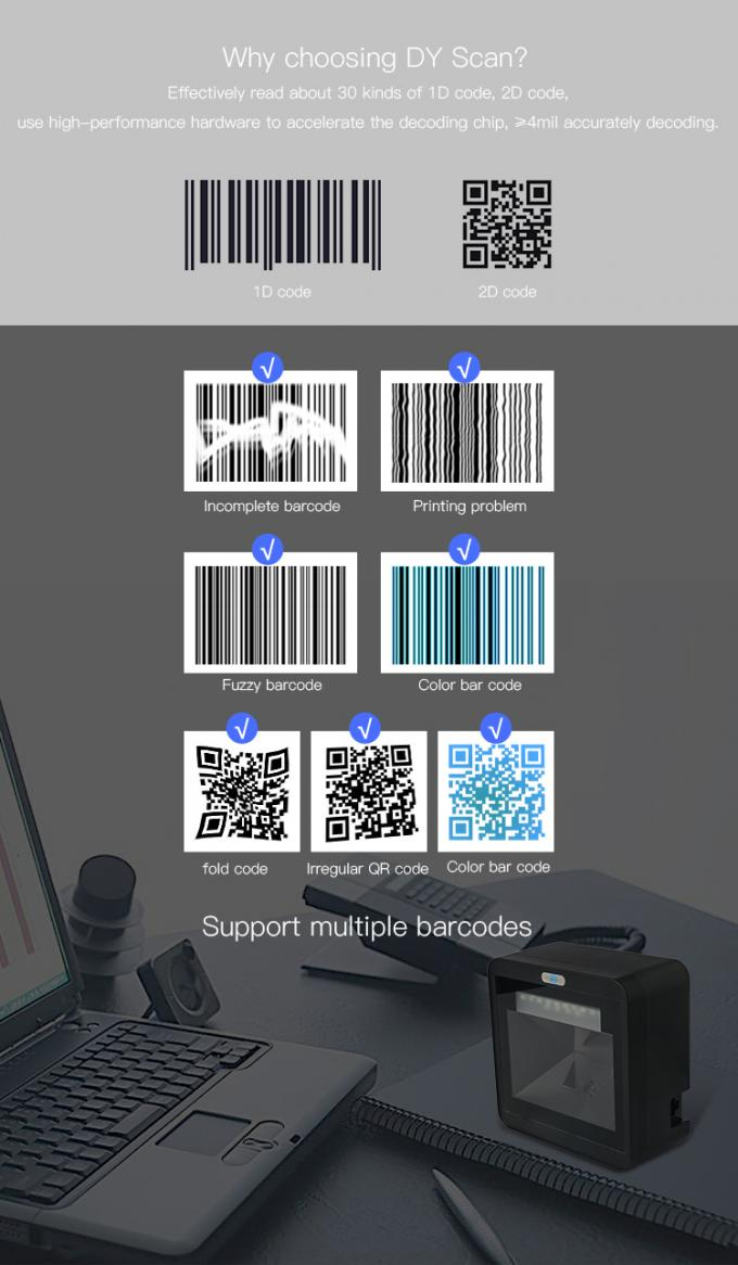 Durable USB QR Code Scanner Desktop  Barcode Scanner For Business DP8520PRO